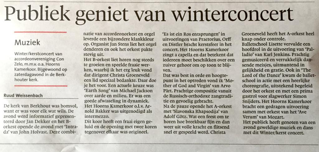 Bron: Noordhollands Dagblad, editie Westfries Dagblad maandag 14-12-2015